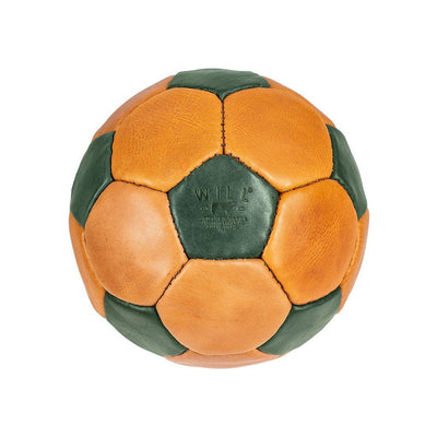 Leather Soccer Ball Sport WillLeatherGoods Tan/Blue