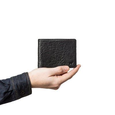 Marvel Billfold Black Washed Italian Lambskin In Hand