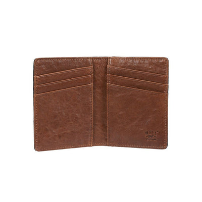 Black Cognac Flip Front Pocket Wallet Inside Card Slots
