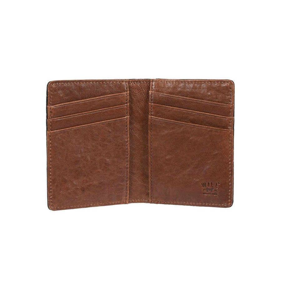 Flip Front Pocket Wallet Cognac In Hand to Scale
