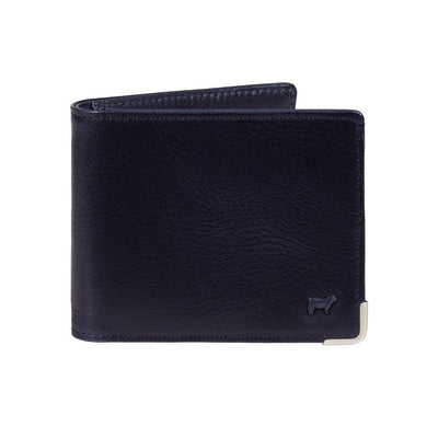 Navy William Magnate Wallet with metal corner detail and small cow embossment