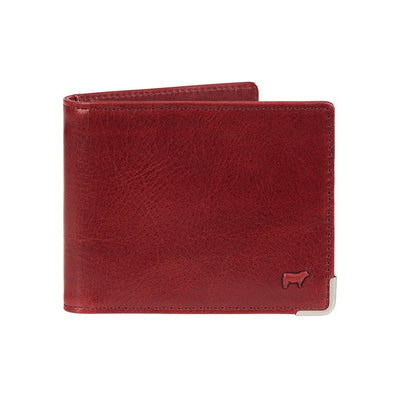 Front of Wine William Magnate Leather Wallet w/ metal corner