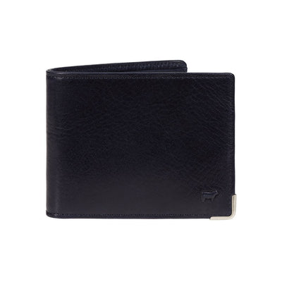 The Industrialist Billfold Navy Wallet Metal Detailing Leather