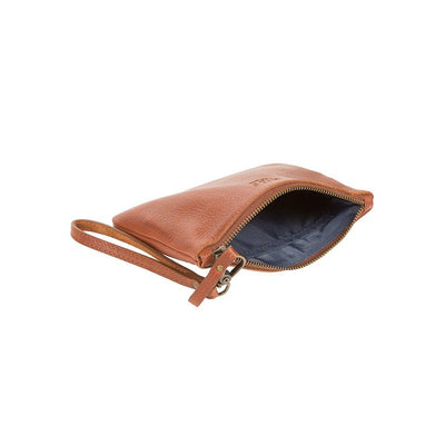 Signature Leather Medium Flat Pouch Open