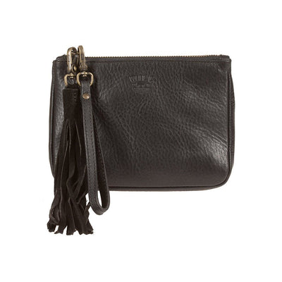 Black Signature Leather Medium Gusseted Pouch