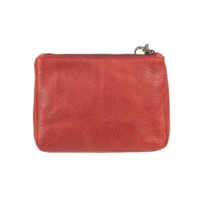 Red Signature Leather Medium Gusseted Pouch Back
