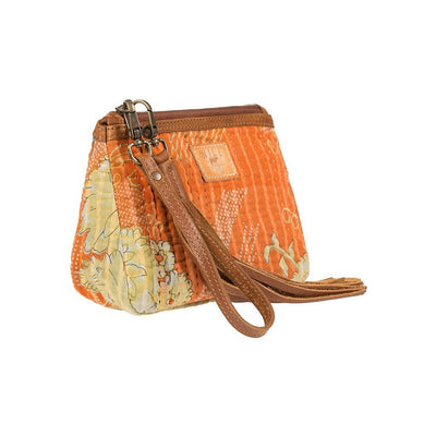 Orange floral Kantha Medium Gusseted Pouch