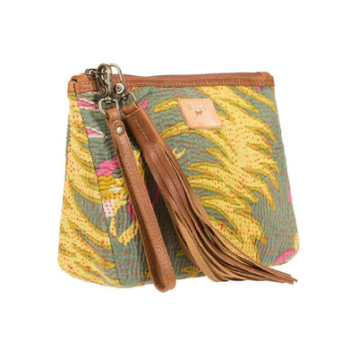 Green Kantha Large Gusseted Pouch