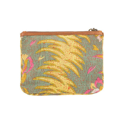 Green Kantha Large Gusseted Pouch Back