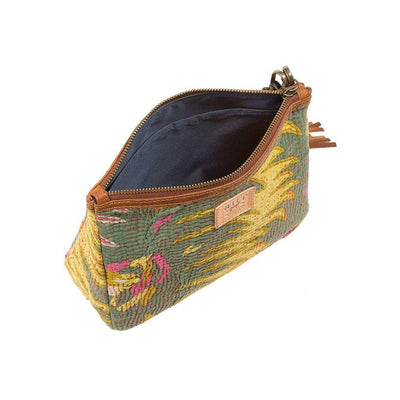 Green Kantha Large Gusseted Pouch Interior