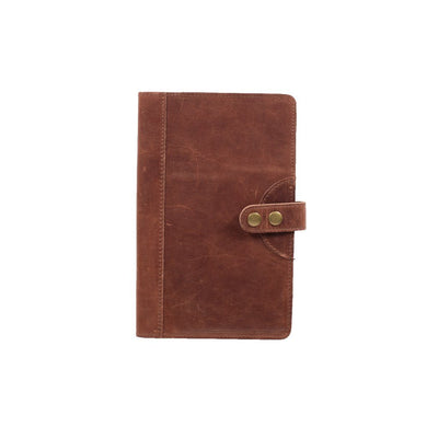 Glossy Leather Journal Cover Office WillLeatherGoods Medium Brown