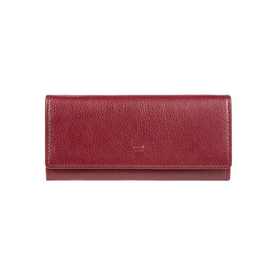 Flap Front of Red Classic Checkbook Wallet w/ Small Cow embossment