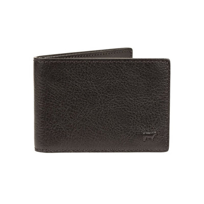 black classic slim billfold front with embossed cow icon in corner