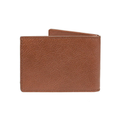 back of cognac leather classic billfold with no embossment