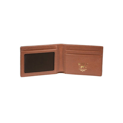 Inside card slots, mesh ID pocket, and gold foil logo of cognac billfold