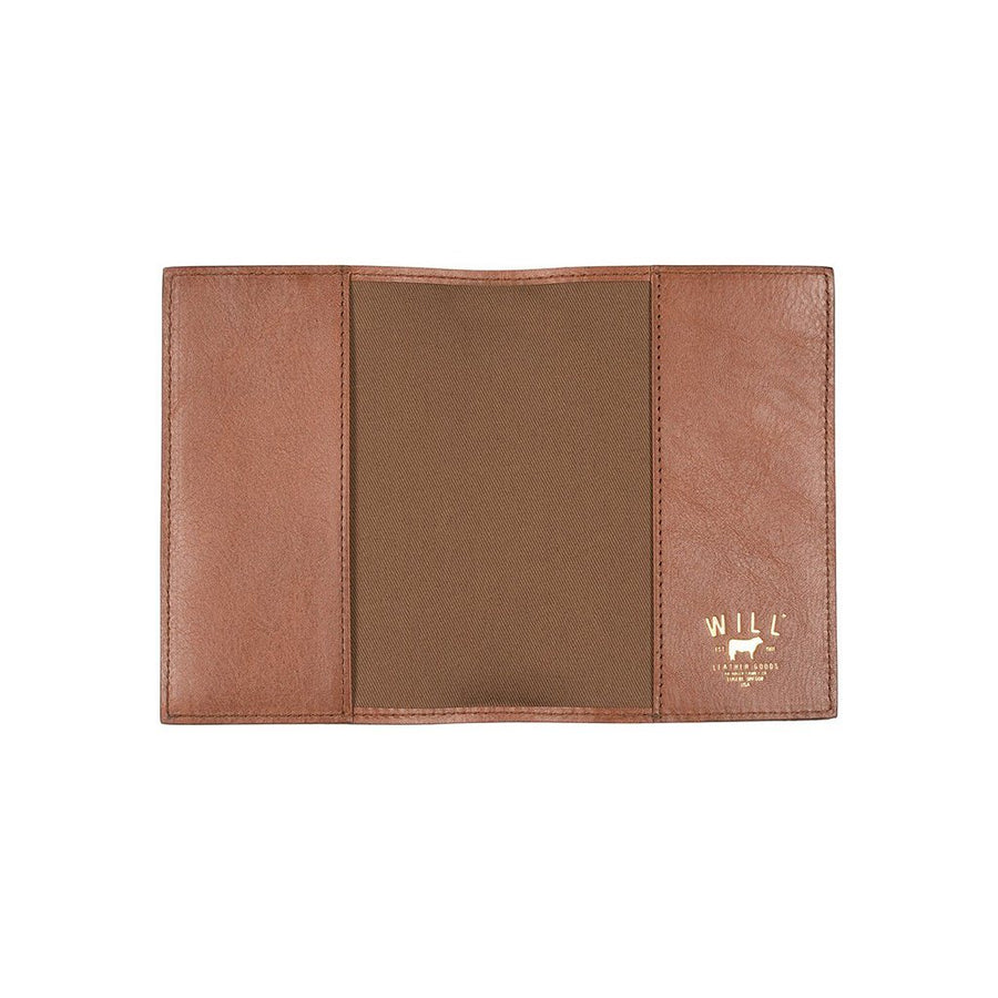 Cognac Classic Passport Case with Embossed Cow in Corner
