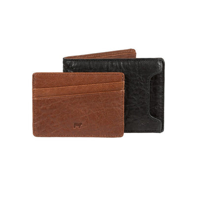 Black and Cognac Pitch Billfold w/ Cognac Card Insert Pulled Out