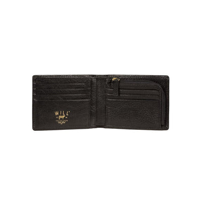 Black Classic Billfold with Interior Zip Pocket Inside
