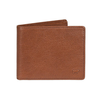 Cognac Classic Billfold with Small Embossed Cow in Corner