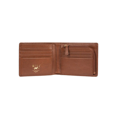Interior Zip pocket and card slots of cognac interior zip billfold