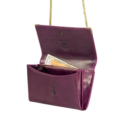 Will Leather Goods Wallet On Chain Wallet Open Front Shown in Purple.