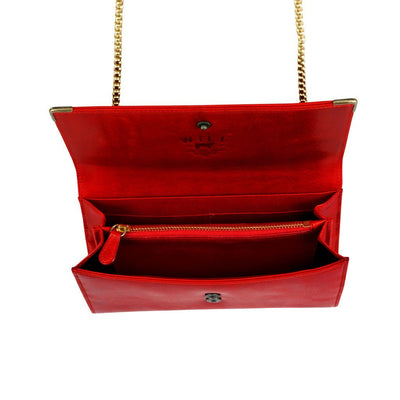 Will Leather Goods Wallet On Chain Wallet Open Front Shown in Red.