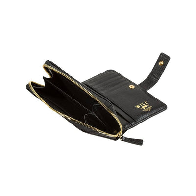 Classic French Wristlet Black Zip Coin Pocket Side