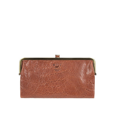 Her Double Frame Clutch Wallet WillLeatherGoods LAST CHANCE Cognac