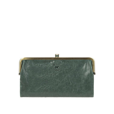 Her Double Frame Clutch Wallet WillLeatherGoods LAST CHANCE Pine