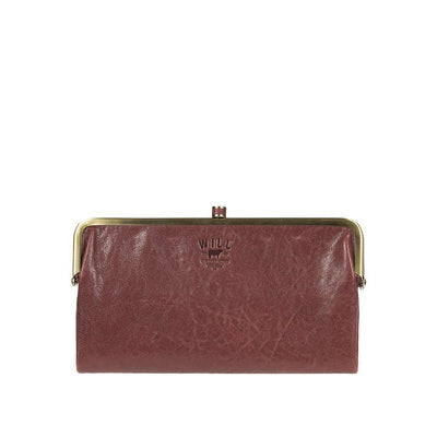 Her Double Frame Clutch Wallet WillLeatherGoods LAST CHANCE Wine