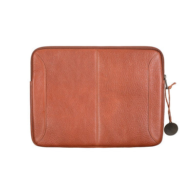 Back of Cognac Leather Laptop Case with Top Zipper