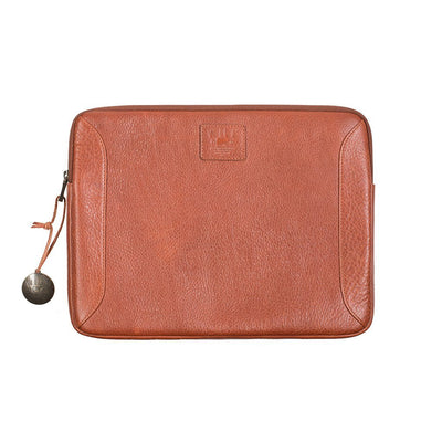 Cognac Leather Laptop Holder with Will Logo Patch and Logo Charm
