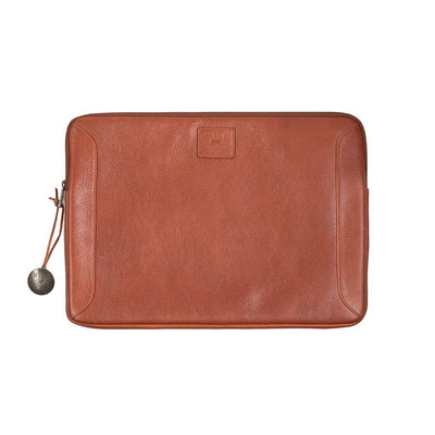 Small Cognac Leather Laptop Case with Will Logo Patch