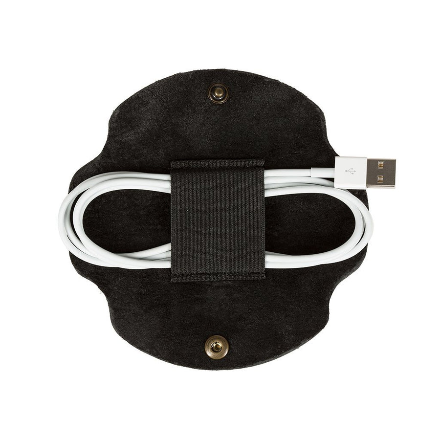 Large Cord Taco Black Leather with Brass Snap Button