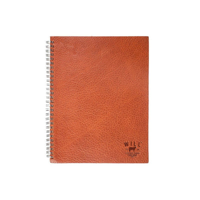 Leather Spiral Notebook Office WillLeatherGoods Cognac