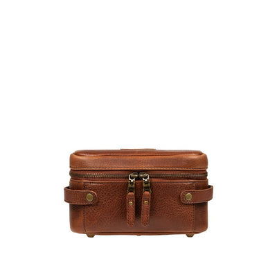 Small Desmond Leather Travel Kit Travel Kit WillLeatherGoods Cognac
