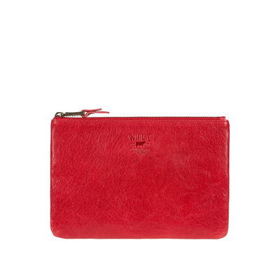 Medium Flat Lamb Pouch Pouch WillLeatherGoods Red
