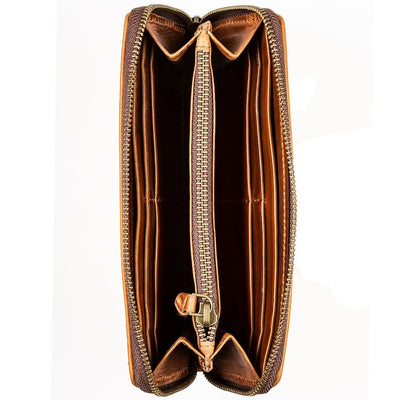 Leather interior zip coin pocket and card slot