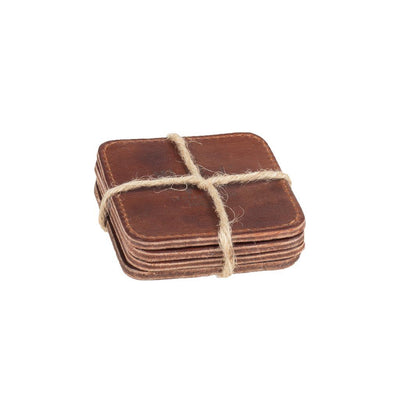 Coaster Set Beverage WillLeatherGoods LAST CHANCE Tan