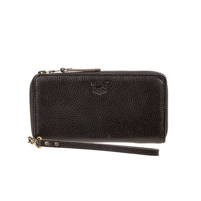 Leather Zip Around Clutch Wallet WillLeatherGoods Black Pebble