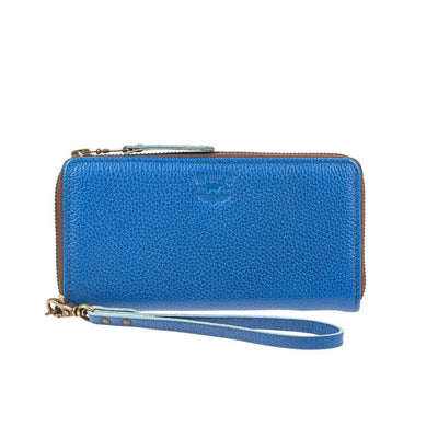 Leather Zip Around Clutch - FINAL SALE Wallet WillLeatherGoods Blue Pebble