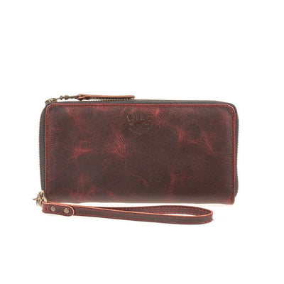 Leather Zip Around Clutch - FINAL SALE Wallet WillLeatherGoods Black Cherry