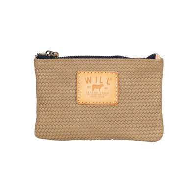 Woven Leather Small Pouch Will Leather Goods Beige