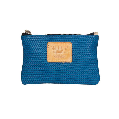 Woven Leather Small Pouch Will Leather Goods Blue