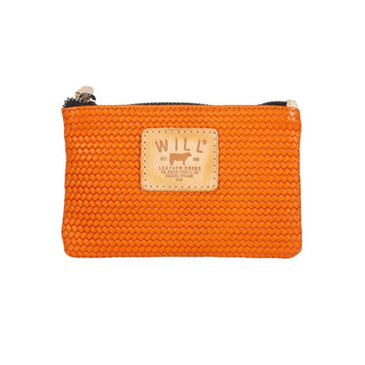 Woven Leather Small Pouch Will Leather Goods Orange