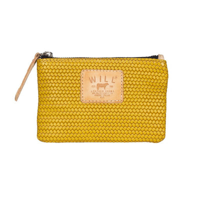 Woven Leather Small Pouch Will Leather Goods Yellow