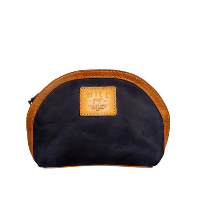 All-Leather Makeup Bag Will Leather Goods NAVY/OLIVE/TAN