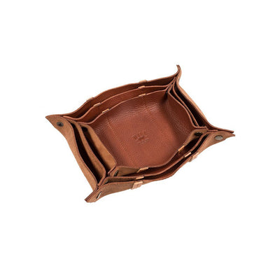 Three-Piece Cognac Leather Nesting Snap Tray Set