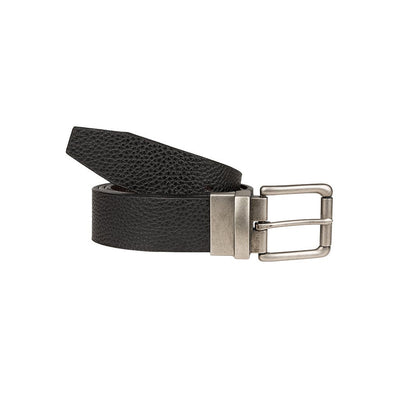Glen Reversible Belt Black Side Out with Silver Buckle