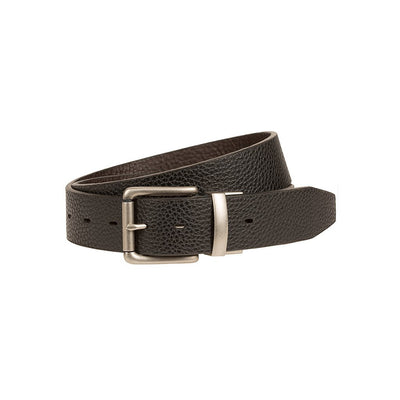 Glen Reversible Leather Belt Black Side Out with Silver Buckle